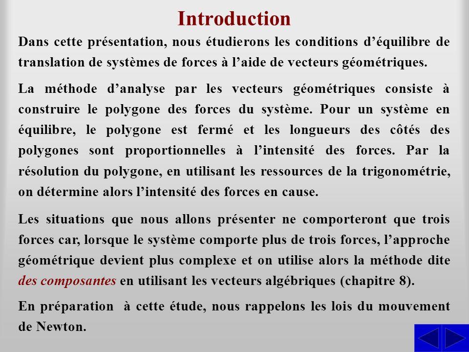 Introduction Dans cette présentation, nous étudierons les conditions déquilibre de translation de systèmes de forces à laide de vecteurs géométriques.