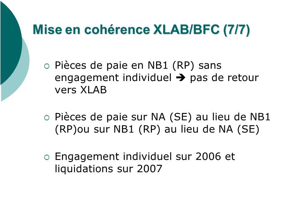 Mise en cohérence XLAB/BFC (7/7) Pièces de paie en NB1 (RP) sans engagement individuel pas de retour vers XLAB Pièces de paie sur NA (SE) au lieu de N