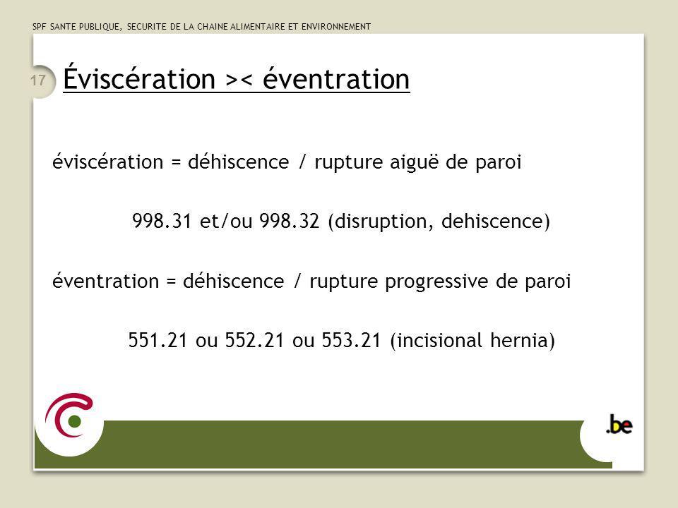 SPF SANTE PUBLIQUE, SECURITE DE LA CHAINE ALIMENTAIRE ET ENVIRONNEMENT 17 Éviscération >< éventration éviscération = déhiscence / rupture aiguë de par
