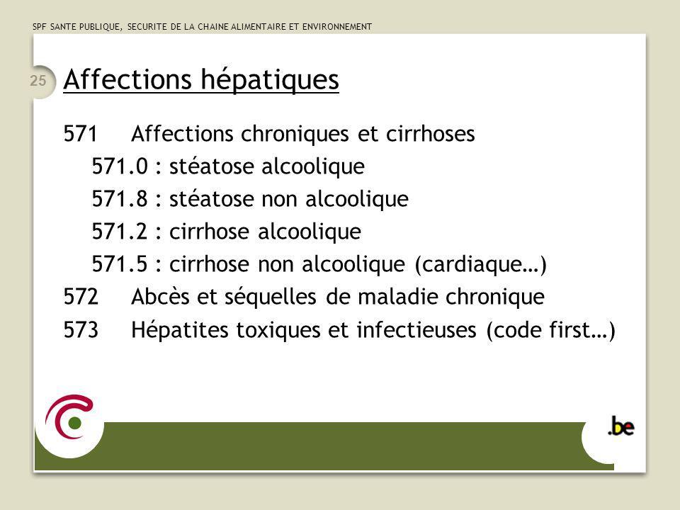 SPF SANTE PUBLIQUE, SECURITE DE LA CHAINE ALIMENTAIRE ET ENVIRONNEMENT 25 Affections hépatiques 571Affections chroniques et cirrhoses 571.0 : stéatose