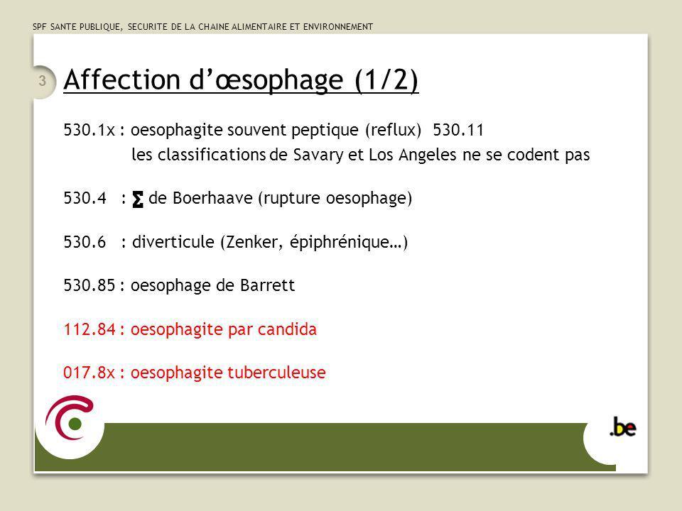 SPF SANTE PUBLIQUE, SECURITE DE LA CHAINE ALIMENTAIRE ET ENVIRONNEMENT 3 Affection dœsophage (1/2) 530.1x : oesophagite souvent peptique (reflux) 530.