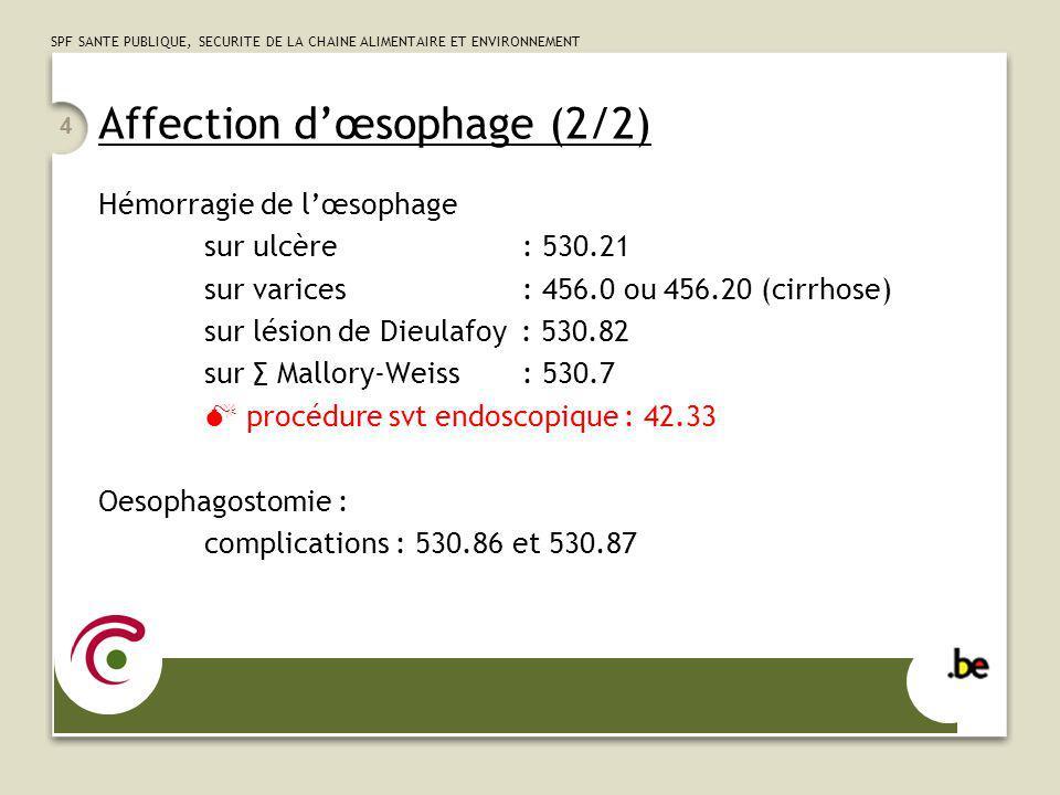 SPF SANTE PUBLIQUE, SECURITE DE LA CHAINE ALIMENTAIRE ET ENVIRONNEMENT 4 Affection dœsophage (2/2) Hémorragie de lœsophage sur ulcère : 530.21 sur var