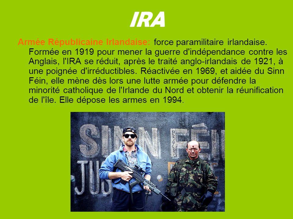 IRA Armée Républicaine Irlandaise: force paramilitaire irlandaise.