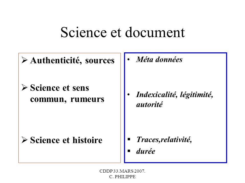 CDDP 33.MARS 2007. C. PHILIPPE Science et document Authenticité, sources Science et sens commun, rumeurs Science et histoire Méta données Indexicalité