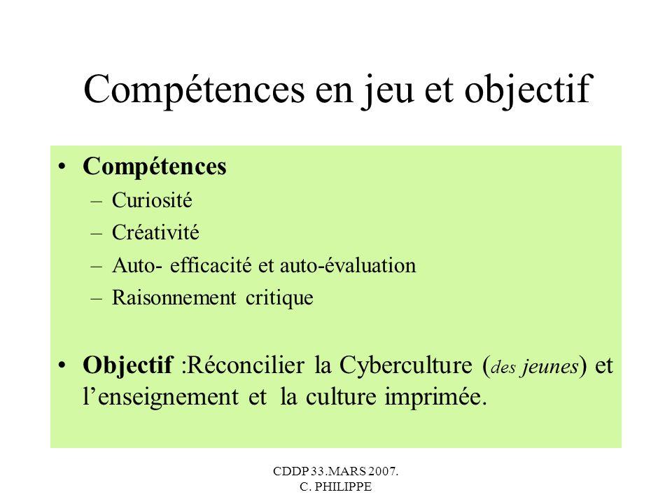 CDDP 33.MARS 2007. C. PHILIPPE Compétences en jeu et objectif Compétences –Curiosité –Créativité –Auto- efficacité et auto-évaluation –Raisonnement cr