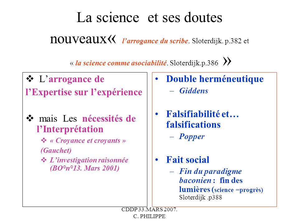 CDDP 33.MARS 2007. C. PHILIPPE La science et ses doutes nouveaux « larrogance du scribe. Sloterdijk. p.382 et « la science comme asociabilité. Sloterd