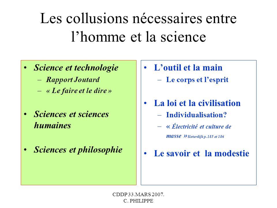 CDDP 33.MARS 2007. C. PHILIPPE Les collusions nécessaires entre lhomme et la science Science et technologie –Rapport Joutard –« Le faire et le dire »