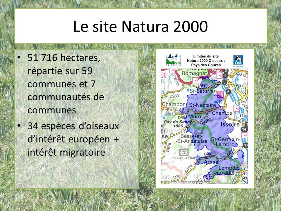 Natura 2000 Objectif pour chaque site : préserver le patrimoine naturel (les espèces et aussi, et surtout leurs habitats) Par des mesures de gestion adaptées et négociées avec les partenaires et les acteurs locaux Adhésion volontaire pour la mise en place des mesures de gestion Actions financées par lEtat et lUnion Européenne