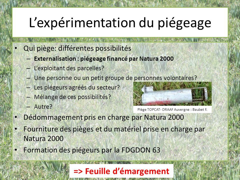 Lexpérimentation du piégeage Qui piège: différentes possibilités – Externalisation : piégeage financé par Natura 2000 – Lexploitant des parcelles.