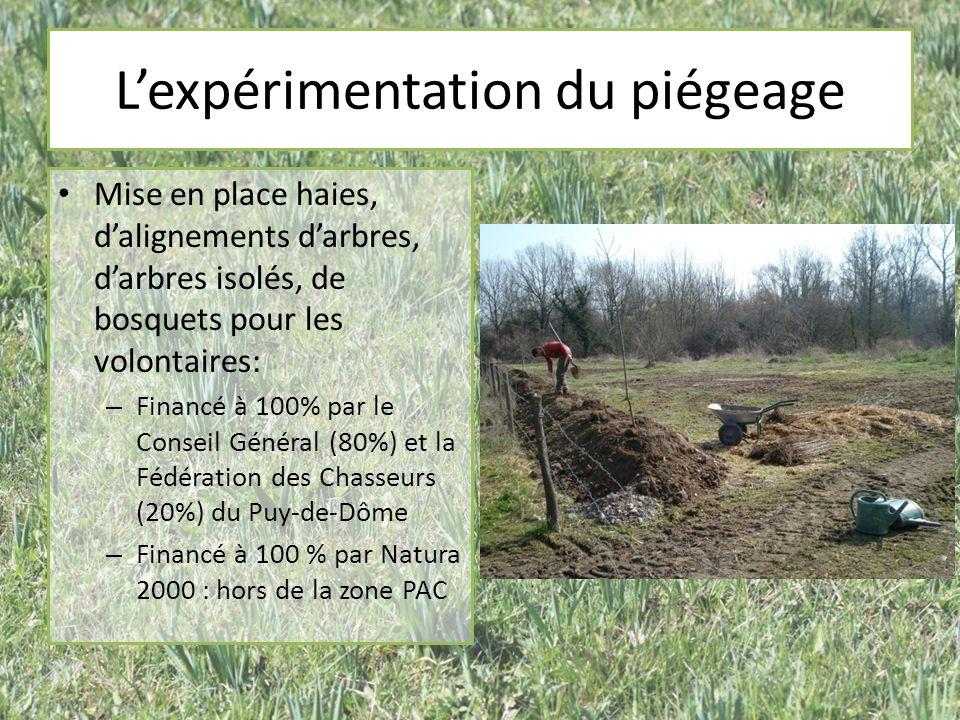 Lexpérimentation du piégeage Mise en place haies, dalignements darbres, darbres isolés, de bosquets pour les volontaires: – Financé à 100% par le Conseil Général (80%) et la Fédération des Chasseurs (20%) du Puy-de-Dôme – Financé à 100 % par Natura 2000 : hors de la zone PAC