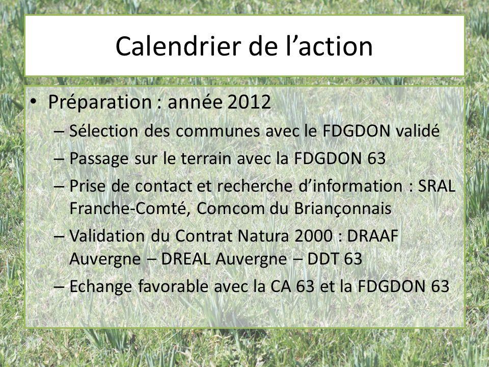 Calendrier de laction Préparation : année 2012 – Sélection des communes avec le FDGDON validé – Passage sur le terrain avec la FDGDON 63 – Prise de contact et recherche dinformation : SRAL Franche-Comté, Comcom du Briançonnais – Validation du Contrat Natura 2000 : DRAAF Auvergne – DREAL Auvergne – DDT 63 – Echange favorable avec la CA 63 et la FDGDON 63
