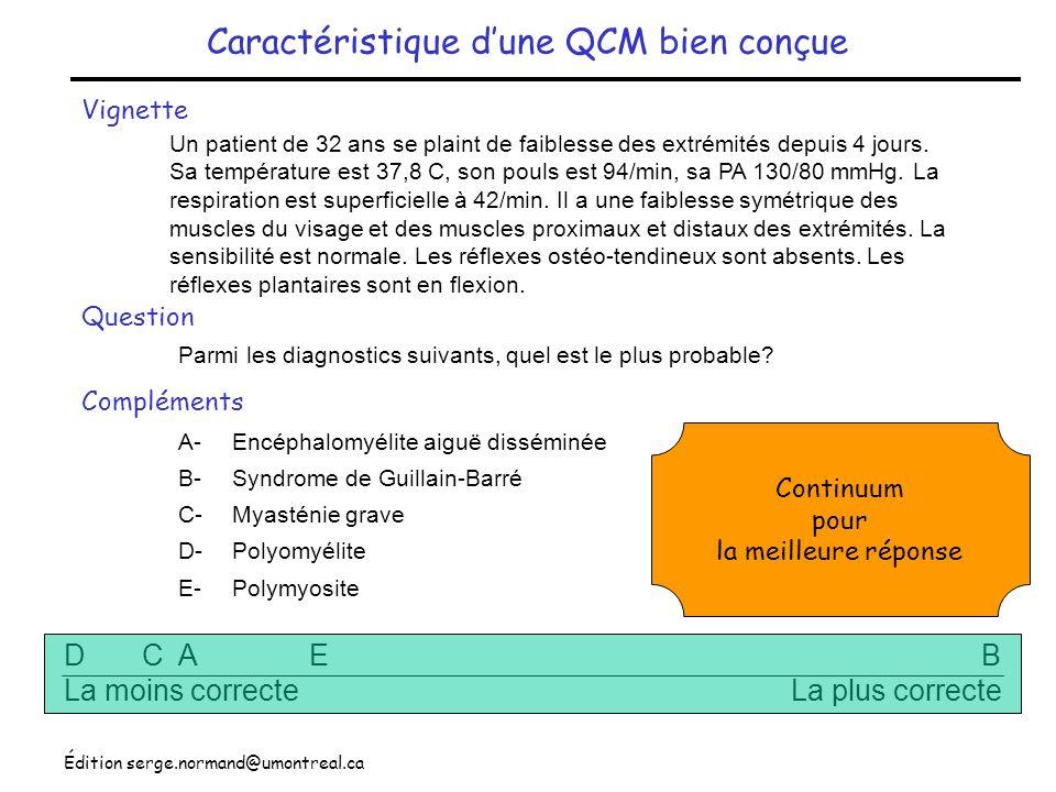 Édition serge.normand@umontreal.ca Caractéristique dune QCM bien conçue Vignette Question Un patient de 32 ans se plaint de faiblesse des extrémités d
