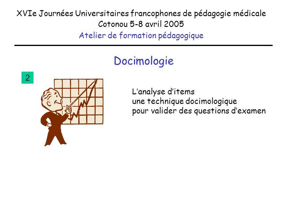 Docimologie XVIe Journées Universitaires francophones de pédagogie médicale Cotonou 5-8 avril 2005 Atelier de formation pédagogique Lanalyse ditems un