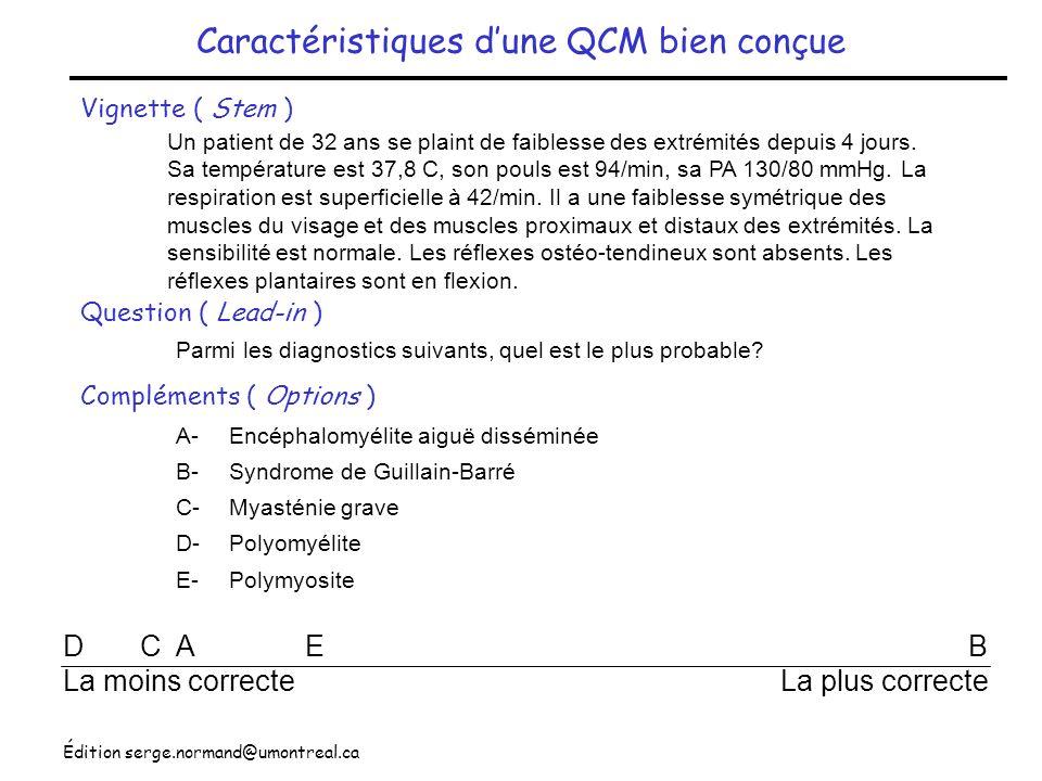 Édition serge.normand@umontreal.ca Caractéristiques dune QCM bien conçue Vignette ( Stem ) Question ( Lead-in ) Compléments ( Options ) Un patient de