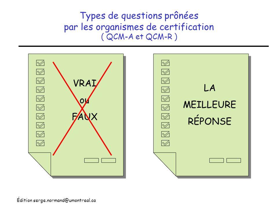 Édition serge.normand@umontreal.ca Difficultés observées avec le modèle VRAI ou FAUX QCM de type K Un enfant qui souffre dune crise aiguë de fièvre rhumatismale présente habituellement (1) un temps de sédimentation allongé (2) un intervalle PR allongé (3) un titre dantistreptolysine O élevé (4) des nodules sous-cutanés 1 F + 2 V C 1 V + 2 F B 4 V + 3 F D 4 F + 2 F B Difficile décrire des compléments absolument vrai ou faux sans tomber dans la futilité Principales critiques Difficile dévaluer le jugement clinique en terme de Vrai ou Faux