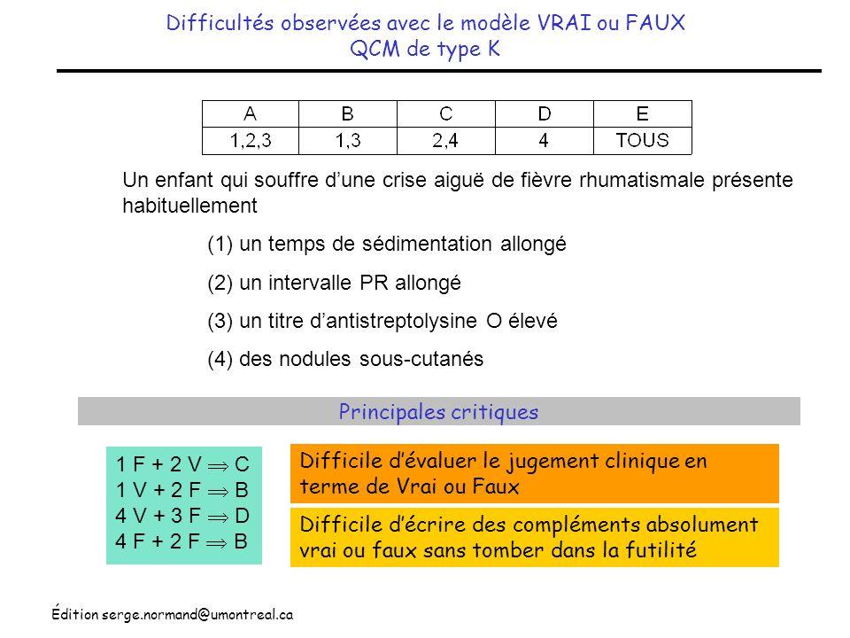 Édition serge.normand@umontreal.ca Format dune QCM bien conçue Vignette ( Stem ) Question ( Lead-in ) Compléments ( Options ) Un patient de 32 ans se plaint de faiblesse des extrémités depuis 4 jours.