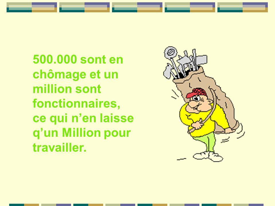 500.000 sont en chômage et un million sont fonctionnaires, ce qui nen laisse qun Million pour travailler.
