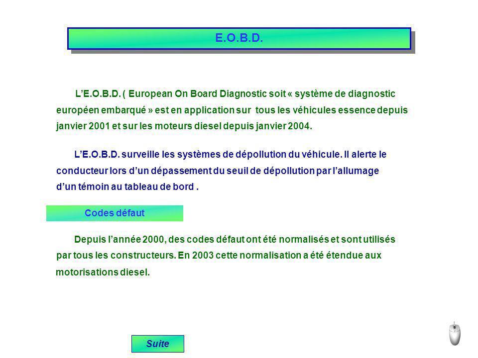E.O.B.D. LE.O.B.D. ( European On Board Diagnostic soit « système de diagnostic européen embarqué » est en application sur tous les véhicules essence d