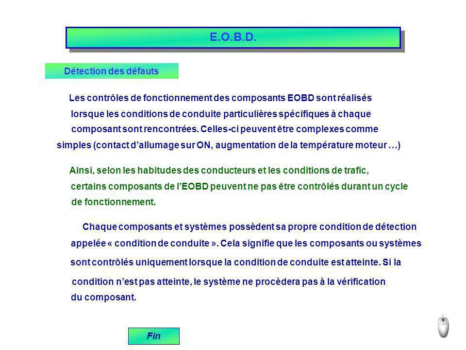 E.O.B.D. Détection des défauts Les contrôles de fonctionnement des composants EOBD sont réalisés lorsque les conditions de conduite particulières spéc