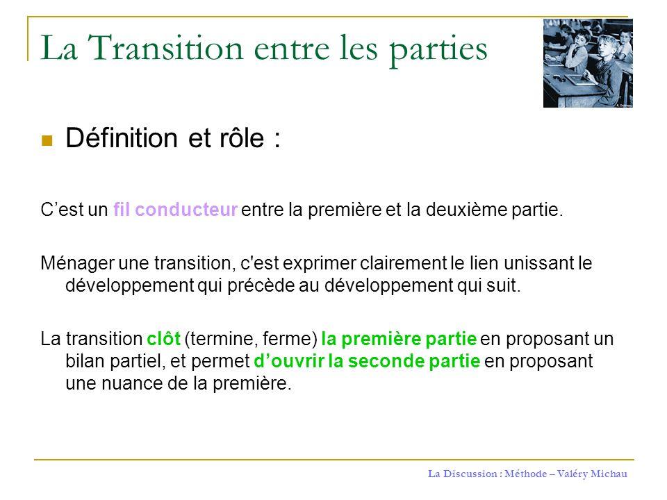 La Discussion : Méthode – Valéry Michau La Transition entre les parties Définition et rôle : Cest un fil conducteur entre la première et la deuxième p