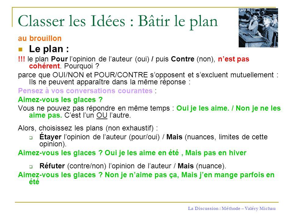 La Discussion : Méthode – Valéry Michau Classer les Idées : Bâtir le plan au brouillon Le plan : !!! le plan Pour lopinion de lauteur (oui) / puis Con