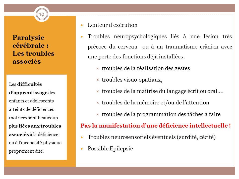 Paralysie cérébrale : Conséquences sur la scolarité Liées au handicap moteur Liées aux troubles neuropsychologiques Liées aux troubles neurosensoriels Liées à lépilepsie 20