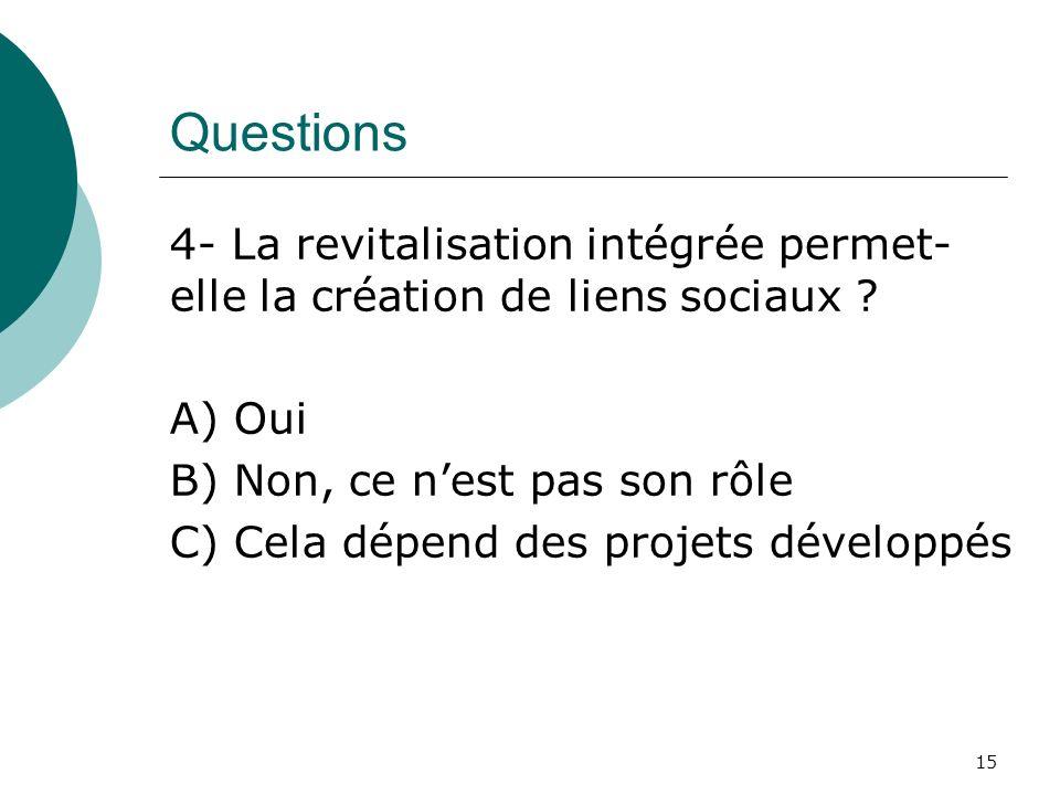 Questions 4- La revitalisation intégrée permet- elle la création de liens sociaux ? A) Oui B) Non, ce nest pas son rôle C) Cela dépend des projets dév