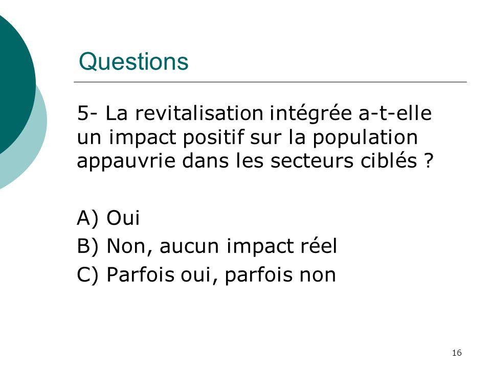 Questions 5- La revitalisation intégrée a-t-elle un impact positif sur la population appauvrie dans les secteurs ciblés ? A) Oui B) Non, aucun impact