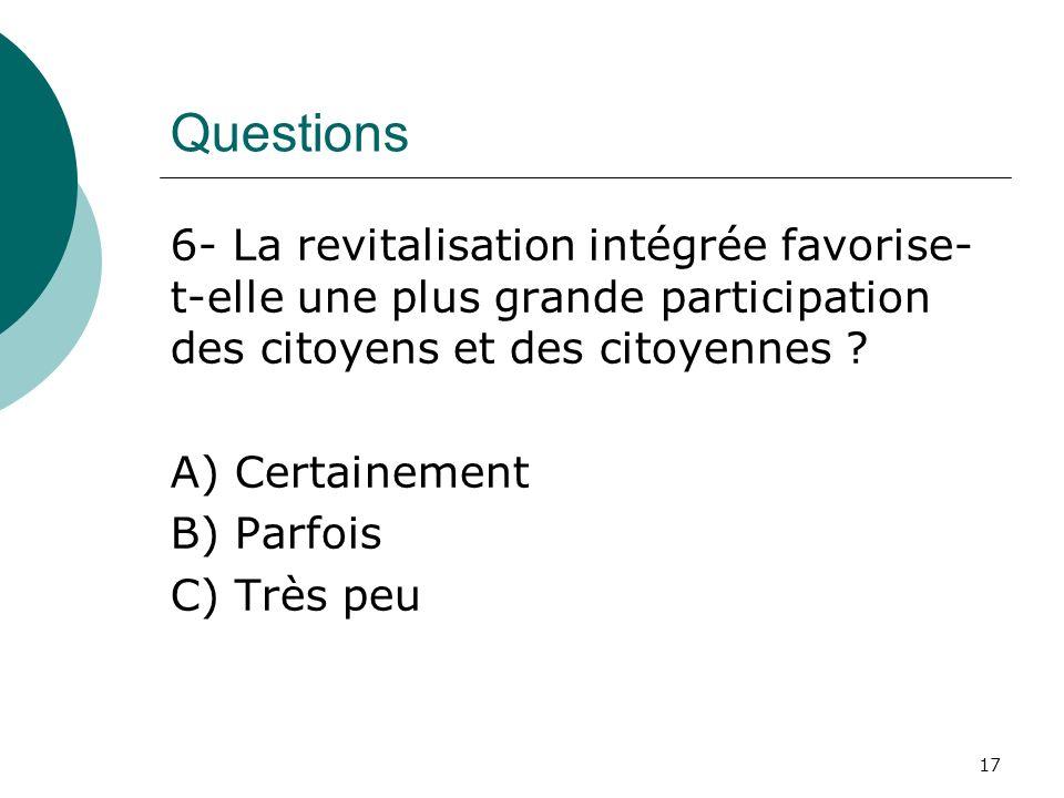 Questions 6- La revitalisation intégrée favorise- t-elle une plus grande participation des citoyens et des citoyennes ? A) Certainement B) Parfois C)