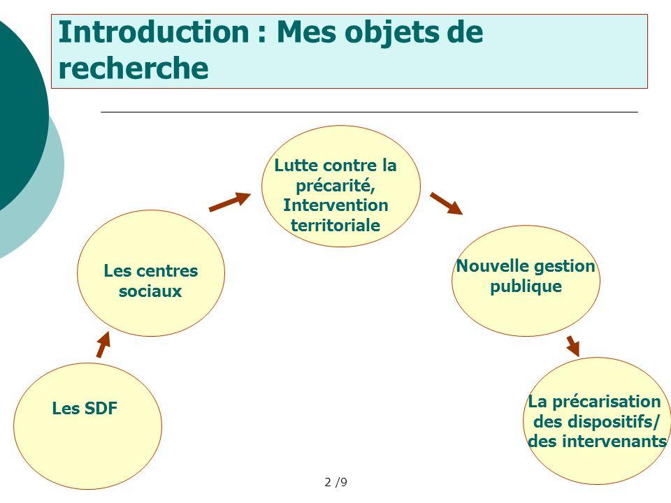 2 /9 Introduction : Mes objets de recherche Les SDF Lutte contre la précarité, Intervention territoriale Nouvelle gestion publique Les centres sociaux