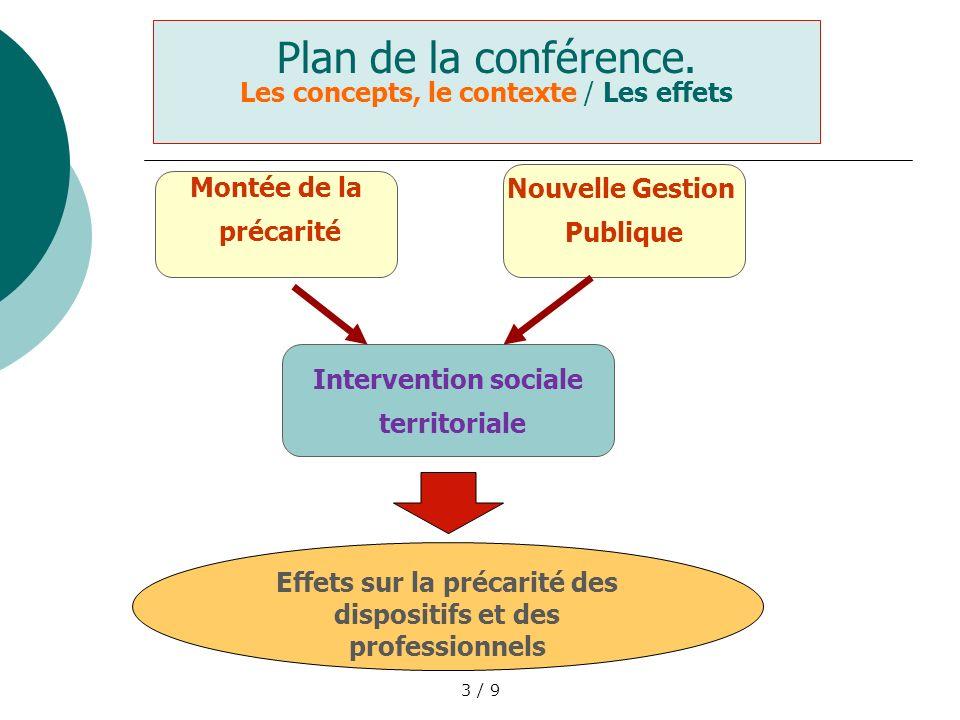 3 / 9 Plan de la conférence. Les concepts, le contexte / Les effets Montée de la précarité Nouvelle Gestion Publique Intervention sociale territoriale