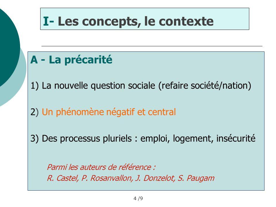 4 /9 I- Les concepts, le contexte A - La précarité 1) La nouvelle question sociale (refaire société/nation) 2) Un phénomène négatif et central 3) Des