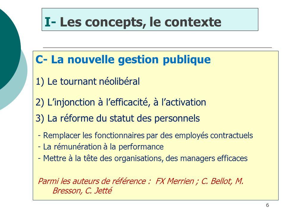 6 C- La nouvelle gestion publique 1) Le tournant néolibéral 2) Linjonction à lefficacité, à lactivation 3) La réforme du statut des personnels - Rempl