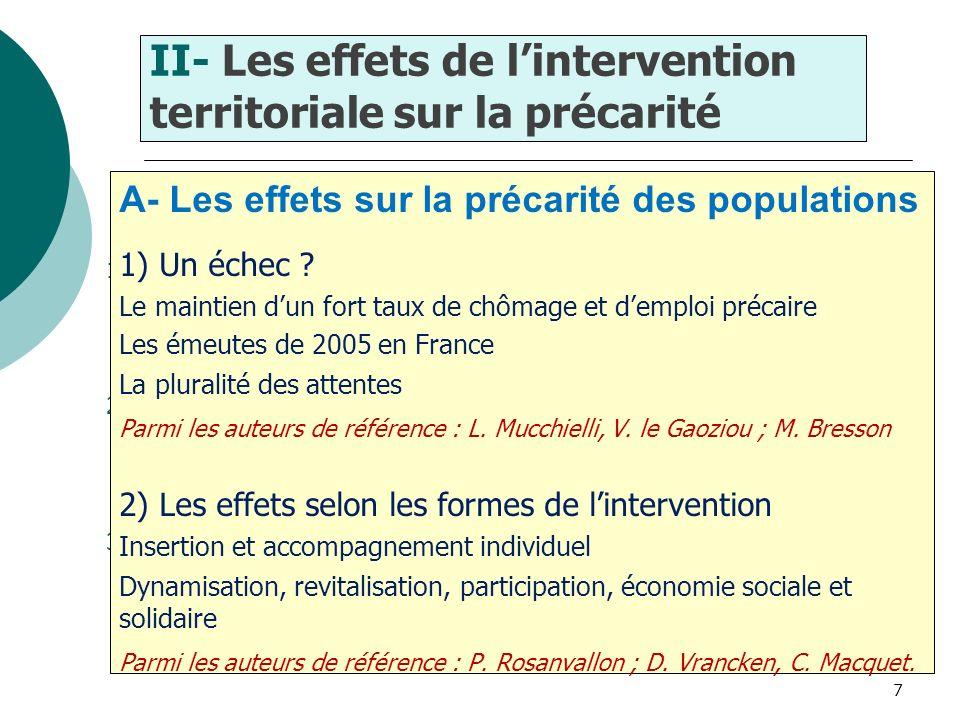 7 1) Lenjeu de la maîtrise des objectifs de lintervention sociale 2) Lenjeu du rapport au public, entre distance et proximité 3) Le précaire et le mil
