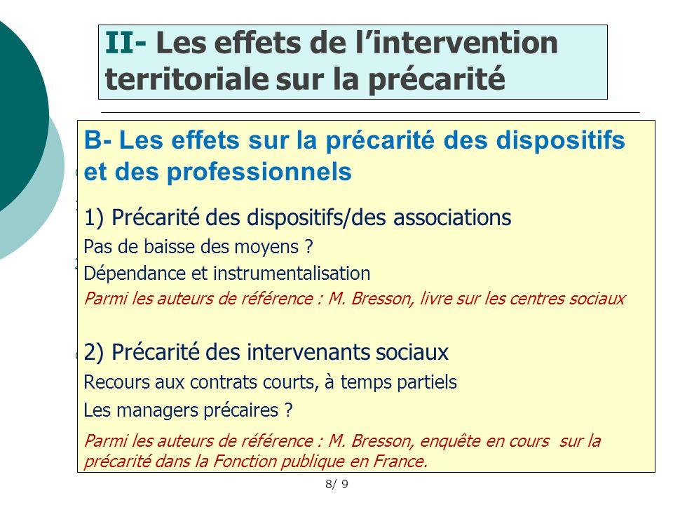9 Conclusion Les enjeux de lintervention territoriale à lépreuve de la précarité en France : - Son action réelle mais limitée sur la situation des populations .