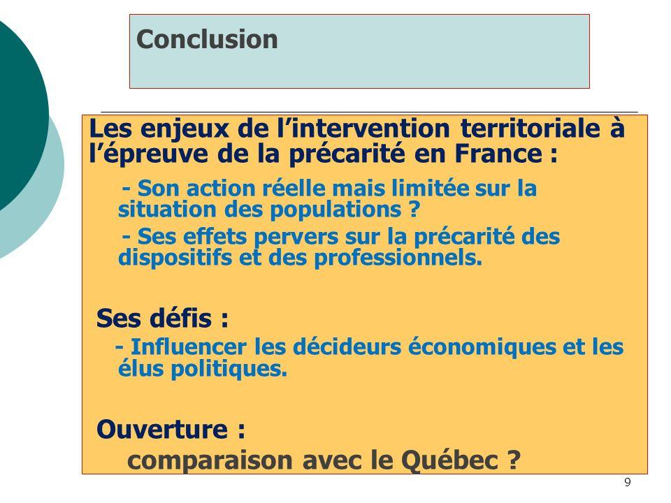 9 Conclusion Les enjeux de lintervention territoriale à lépreuve de la précarité en France : - Son action réelle mais limitée sur la situation des pop