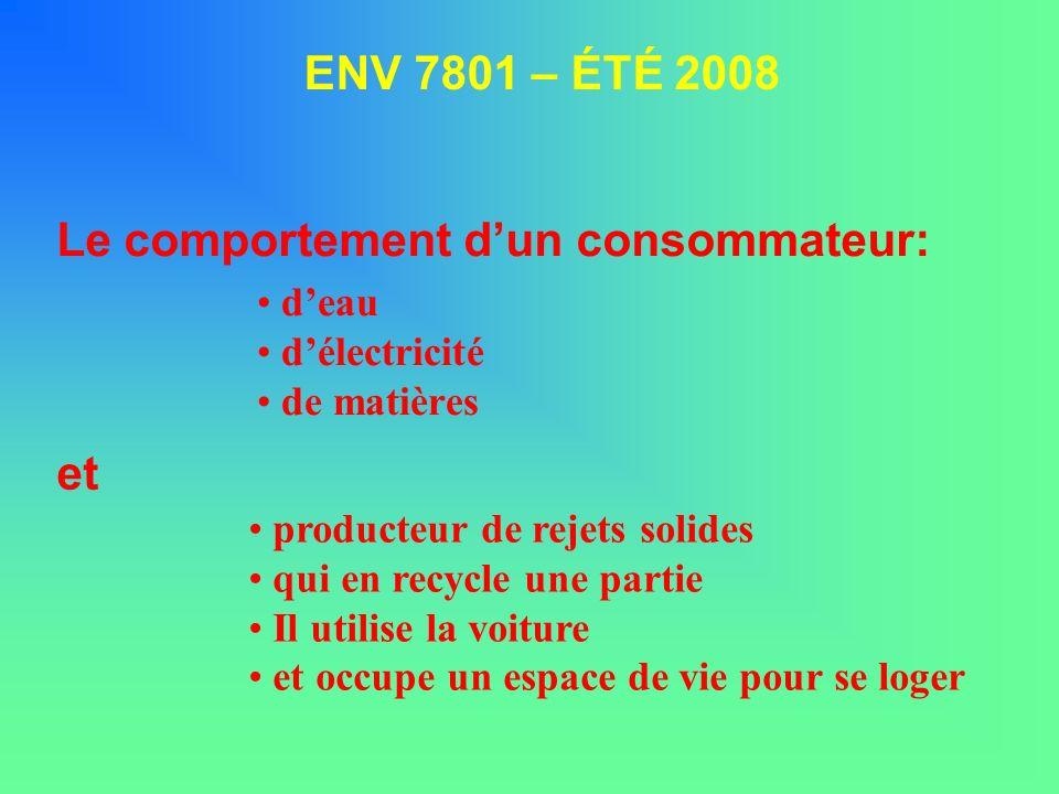deau délectricité de matières ENV 7801 – ÉTÉ 2008 Le comportement dun consommateur: producteur de rejets solides qui en recycle une partie Il utilise la voiture et occupe un espace de vie pour se loger et