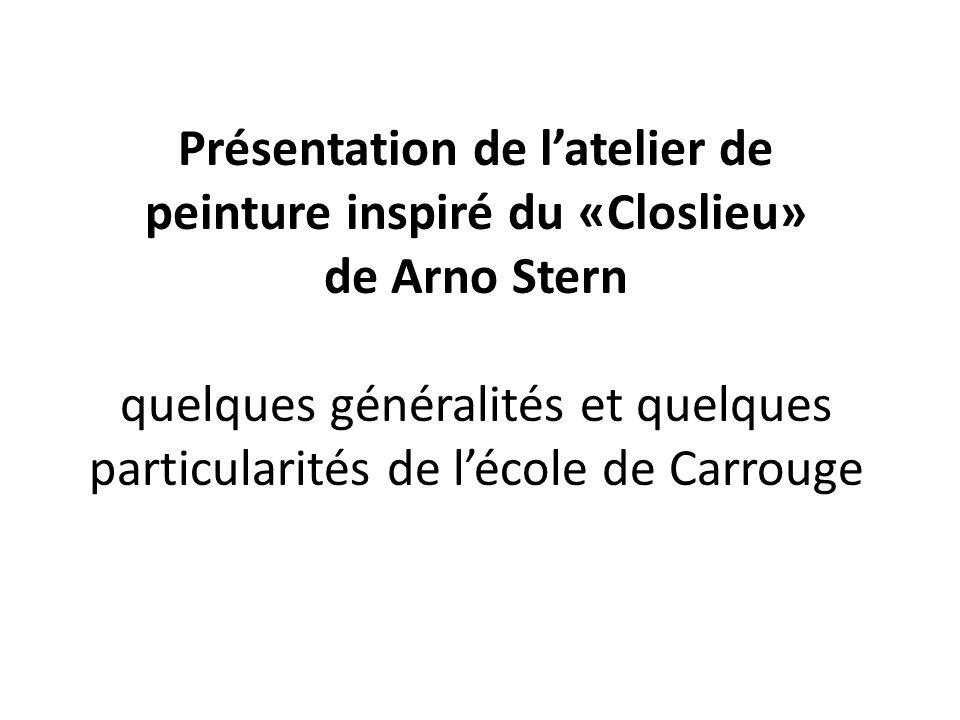 Présentation de latelier de peinture inspiré du «Closlieu» de Arno Stern quelques généralités et quelques particularités de lécole de Carrouge