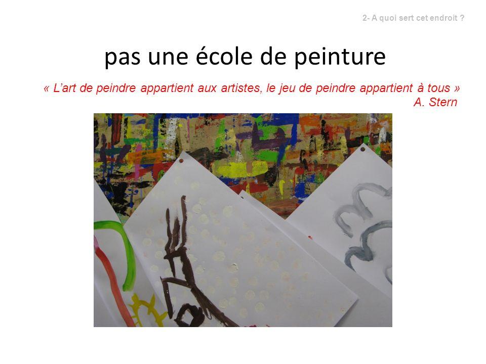 « Lart de peindre appartient aux artistes, le jeu de peindre appartient à tous » A. Stern pas une école de peinture 2- A quoi sert cet endroit ?
