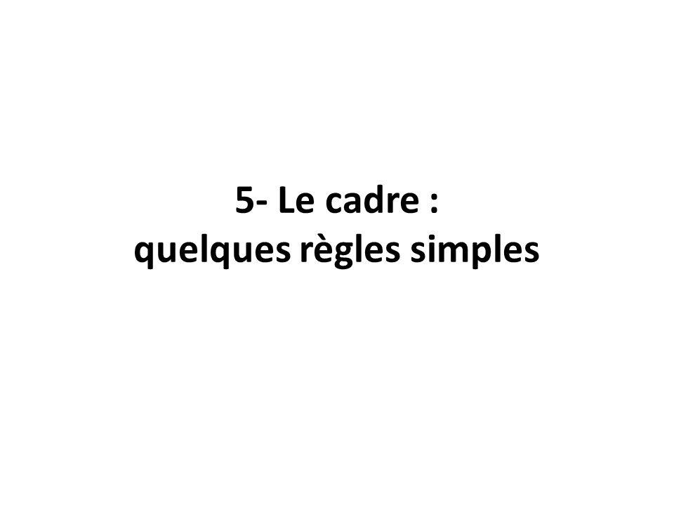 5- Le cadre : quelques règles simples