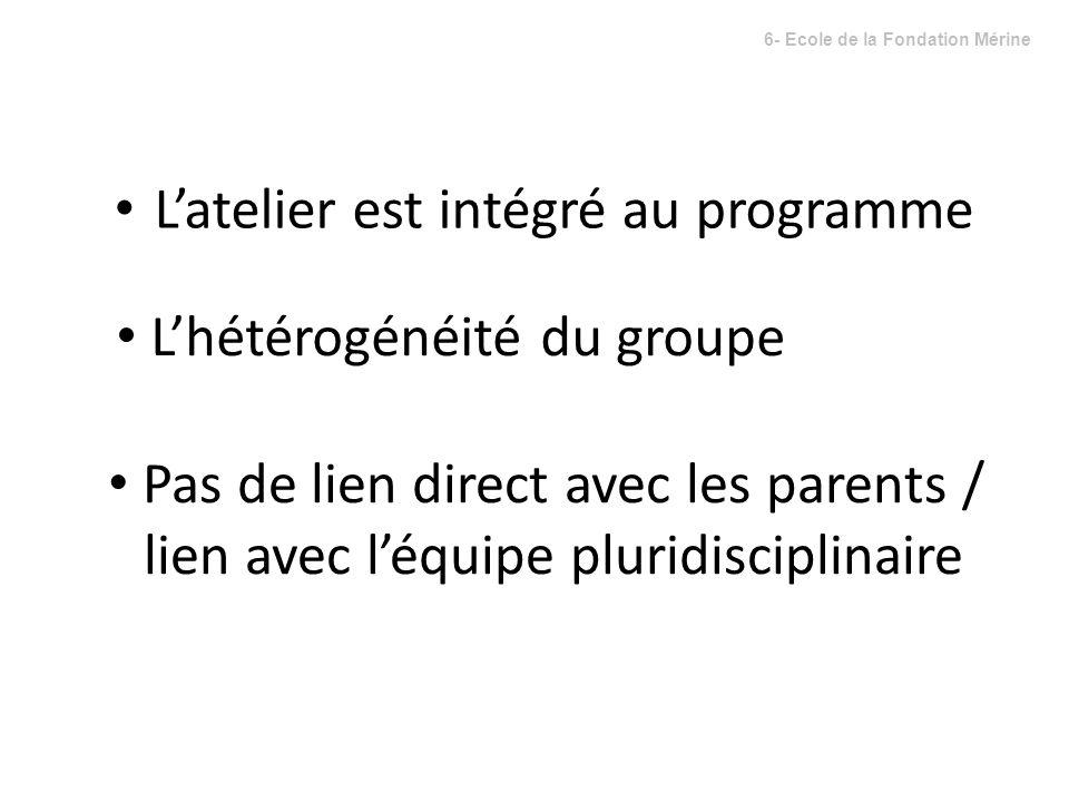 Latelier est intégré au programme Lhétérogénéité du groupe Pas de lien direct avec les parents / lien avec léquipe pluridisciplinaire 6- Ecole de la F