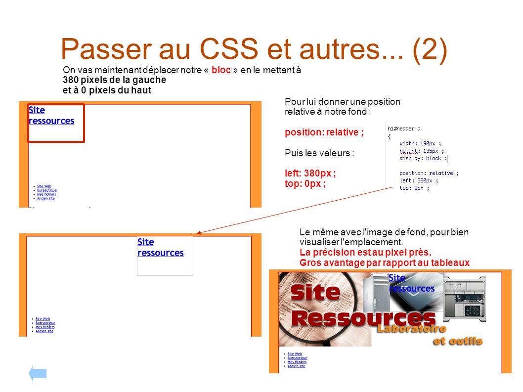 Passer au CSS et autres... (2) On vas maintenant déplacer notre « bloc » en le mettant à 380 pixels de la gauche et à 0 pixels du haut Pour lui donner