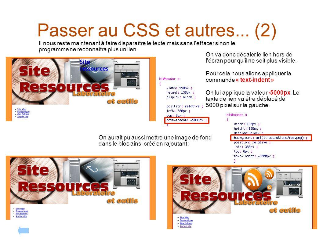 Passer au CSS et autres... (2) Il nous reste maintenant à faire disparaître le texte mais sans l'effacer sinon le programme ne reconnaîtra plus un lie