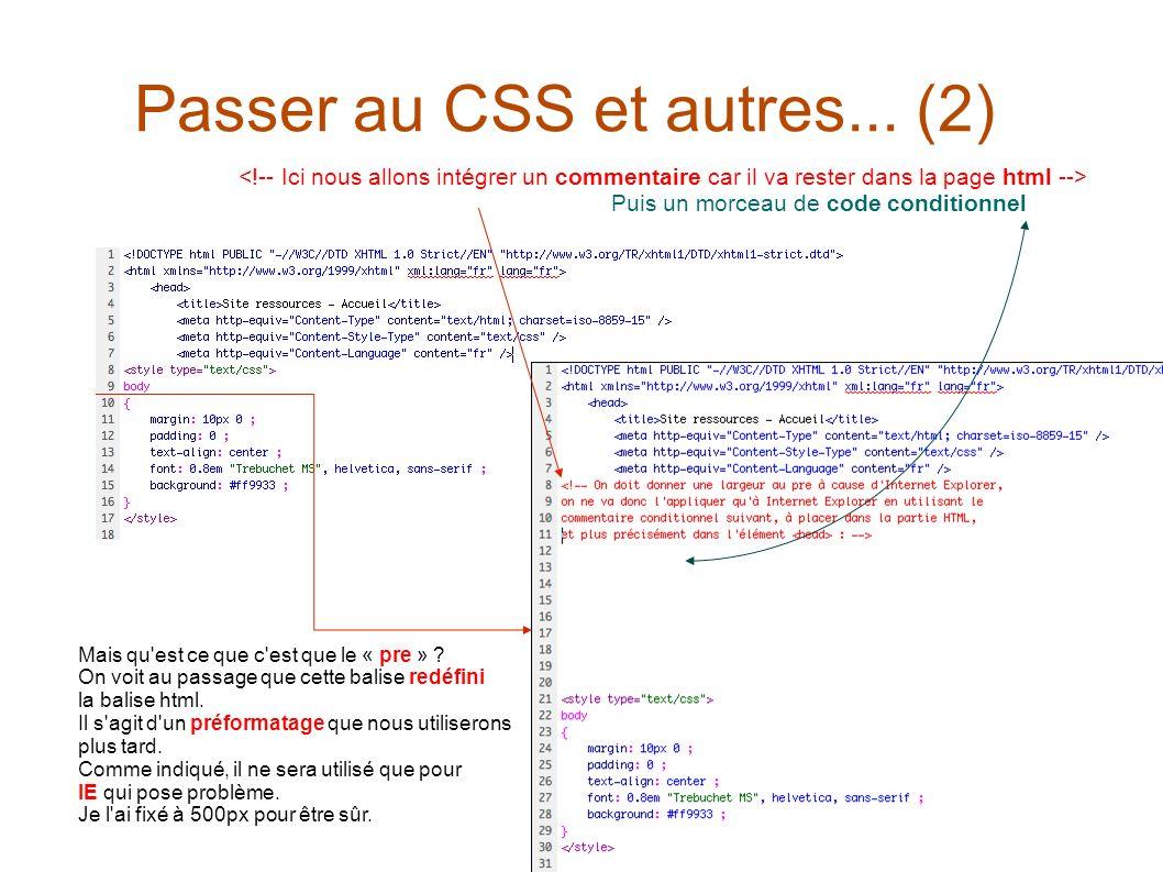 Puis un morceau de code conditionnel Passer au CSS et autres... (2) Mais qu'est ce que c'est que le « pre » ? On voit au passage que cette balise redé