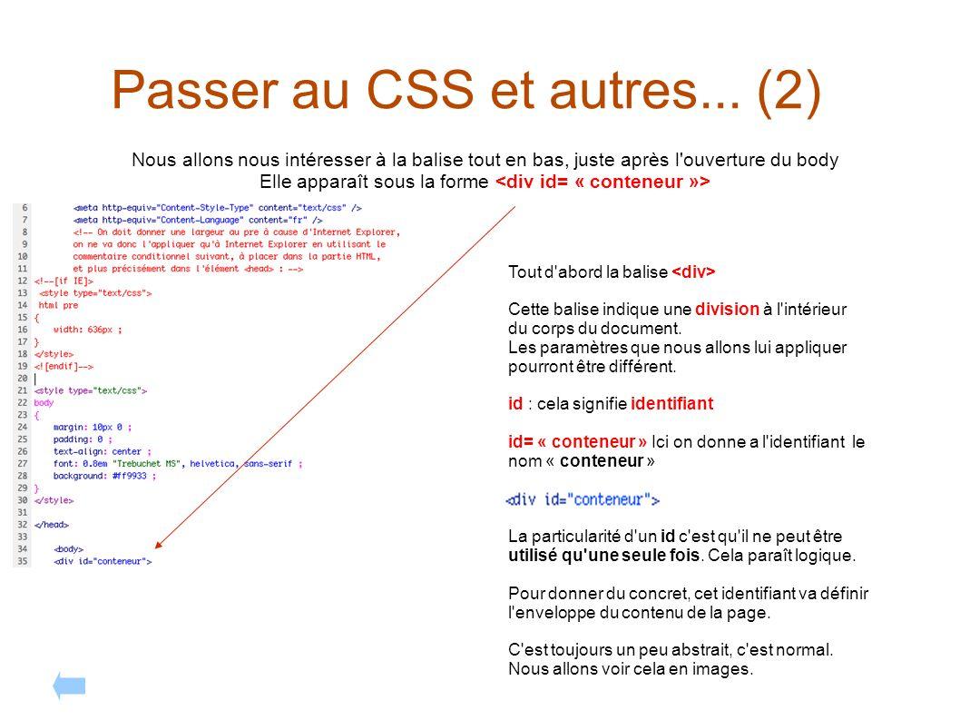 Passer au CSS et autres... (2) Nous allons nous intéresser à la balise tout en bas, juste après l'ouverture du body Elle apparaît sous la forme Tout d