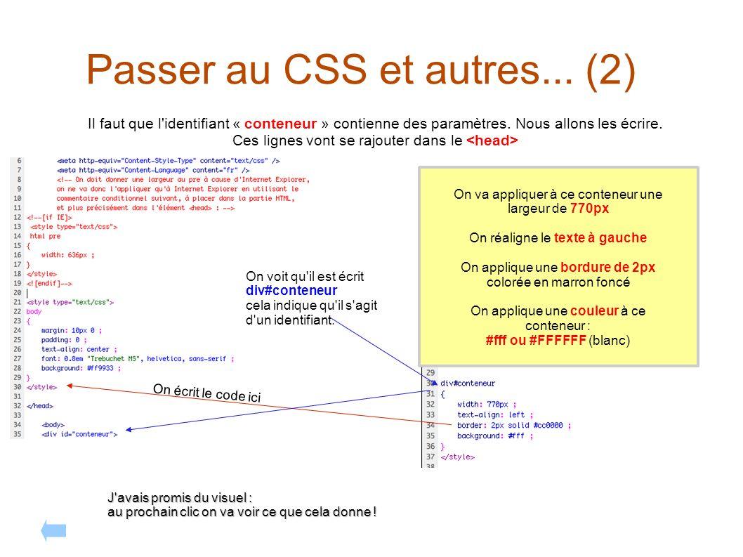 Passer au CSS et autres... (2) Il faut que l'identifiant « conteneur » contienne des paramètres. Nous allons les écrire. Ces lignes vont se rajouter d