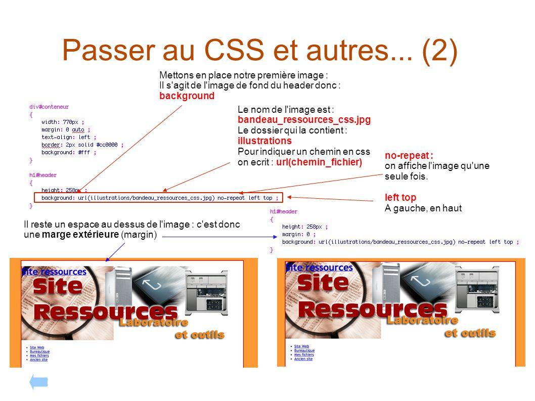 Passer au CSS et autres... (2) Mettons en place notre première image : Il s'agit de l'image de fond du header donc : background Le nom de l'image est