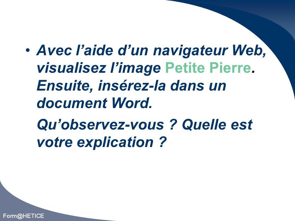 Form@HETICE Avec laide dun navigateur Web, visualisez limage Petite Pierre.