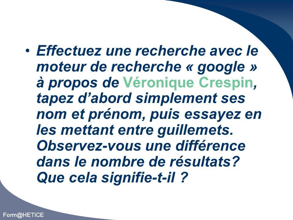 Form@HETICE À laide du moteur de recherche google, faites une recherche sur du klorure de sodiom, comment réagit le moteur de recherche .