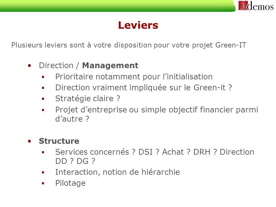 Leviers Plusieurs leviers sont à votre disposition pour votre projet Green-IT Direction / Management Prioritaire notamment pour linitialisation Direction vraiment impliquée sur le Green-it .